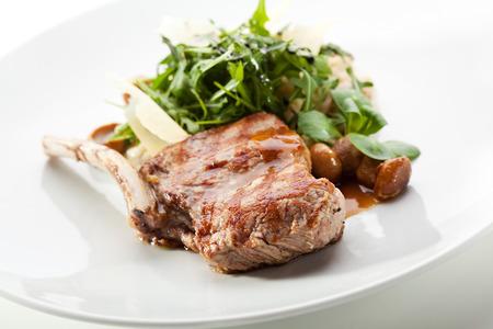 pork chop: Pork Chop with Fresh Salad Stock Photo