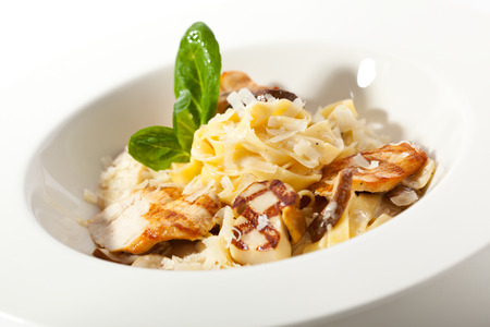 white truffle: Tagliatelle with Mushroom, Chicken Fillet and Cream Sauce Stock Photo