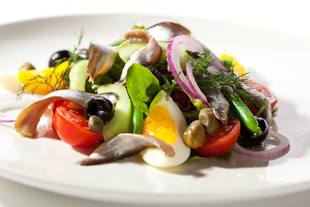anchovy fish: Salad with Anchovy and Vegetables Stock Photo