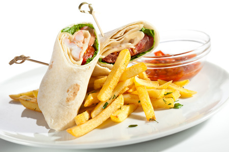 fajita: Tortilla with Shrimps and Sauce Salsa Stock Photo