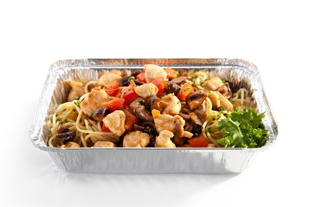 veggie tray: Airplane Food - Noodles with Fried Fillet of Chicken and Vegetables