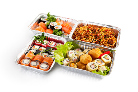 foil roll: Airplane Food - Various Sushi Box and Pasta