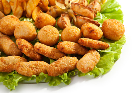 balls deep: Deep Fried Food with Fresh Salad Leaf