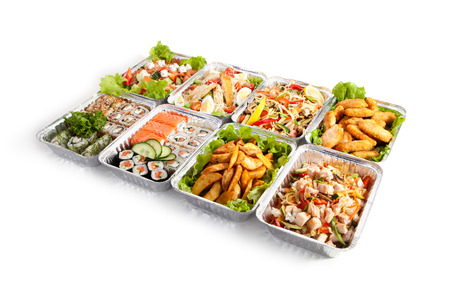 foil roll: Airplane Food - Various Sushi Box, Salads and Pasta