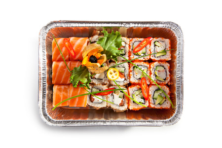 foil roll: Salmon Sushi Airplane Food Top View