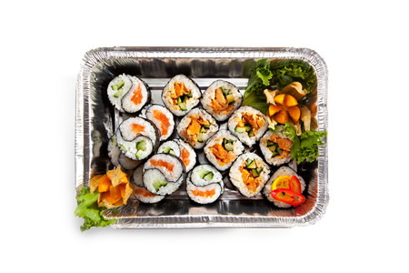 foil roll: Sushi Airplane Food Top View