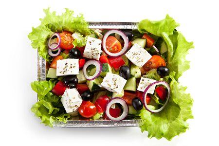 greek salad: Airplane Food - Greek Salad  Isolated over White Stock Photo
