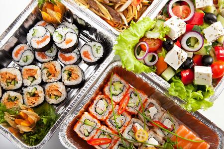foil roll: Airplane Food - Sushi, Greek Salad and Spaghetti