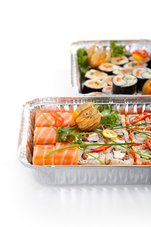 foil roll: Sushi Airplane Food over White