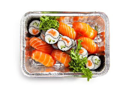 foil roll: Salmon Sushi Food over White