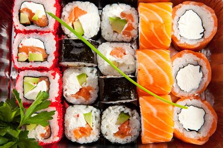Sushi Box Food Top View photo