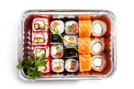 foil roll: Sushi Box Food over White