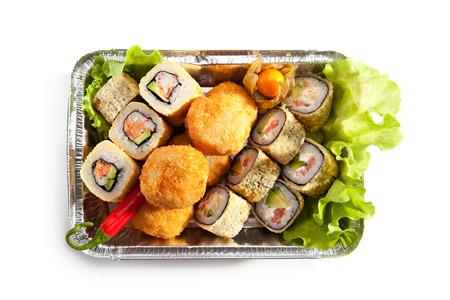 foil roll: Tempura Maki Sushi Set over White Stock Photo