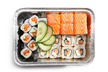 foil roll: Sushi Box Food Top View Stock Photo