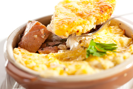 british cuisine: Fish Pie with Mushrooms Sauce Stock Photo