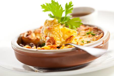 british cuisine: Shepherd s Pie with Mushrooms Sauce Stock Photo