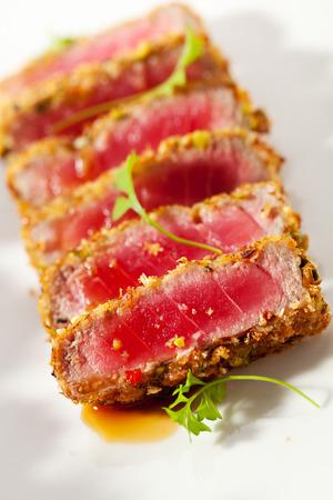 potato tuna: Medium Rare Tuna with Fruit Salad