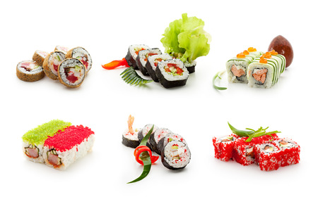 寿司セットの分離ホワイト バック グラウンド