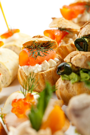 Salmon and Cream Cheese Canapes  Selective Focus 写真素材