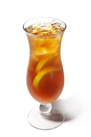 Long Island Iced Tea with Lemon  Isolated on White Background