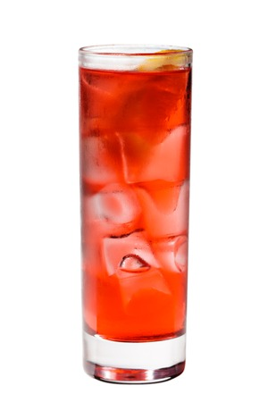 grenadine: Red Cocktail with Grenadine Syrup, Soda and Campari  Isolated on White Background