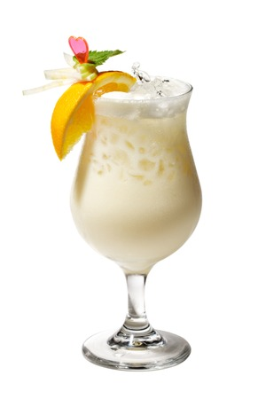 colada: Pina Colada - Cocktail with Cream, Pineapple Juice and Rum  Isolated on White Background