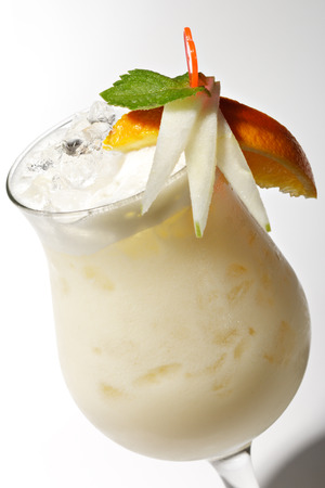 poured: Pina Colada - Cocktail with Cream, Pineapple Juice and Rum Stock Photo
