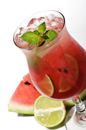 Watermelon Caipirinha - Cocktail with Watermelon, Cachaca, Rum, Sugar and Lime  Isolated on White Background photo