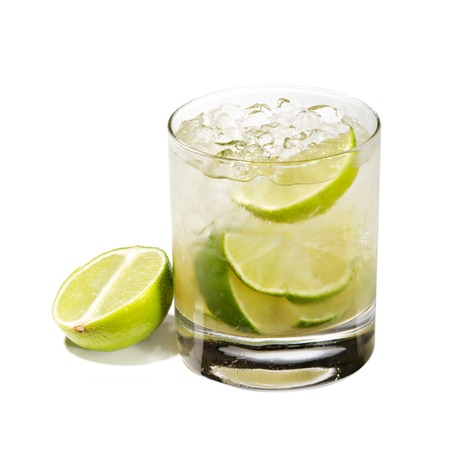 Caipirinha - National Cocktail of Brazil Made with Cachaca, Sugar and Lime  Isolated on White Background photo