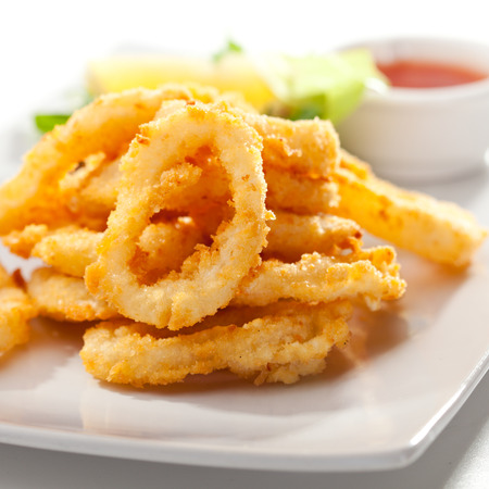 fried snack: Deep Fried Calamari Rings  Selective Focus