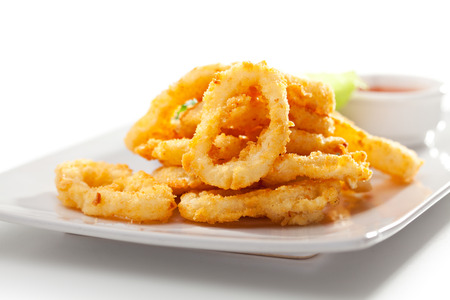 Deep Fried Calamari Rings  Isolated over White