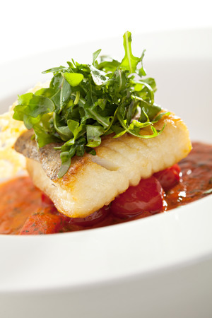 halibut: Halibut Fillet with Tomato Sauce and Rucola
