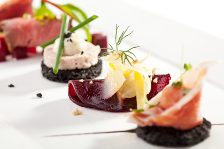gourmet meal: Beet Canapes with Goat Cheese Stock Photo