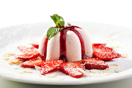 Sweet Dessert with Strawberries and Berries Jam photo