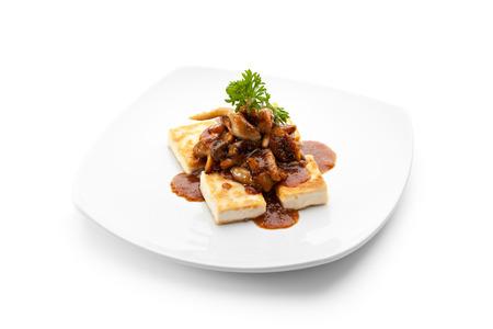 bean curd: Tofu with Mushrooms and Sauce Stock Photo