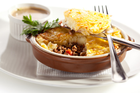 minced pie: Cottage Pie with Mushrooms Sauce Stock Photo