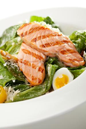 caesar salad: Caesar Salad with BBQ Salmon