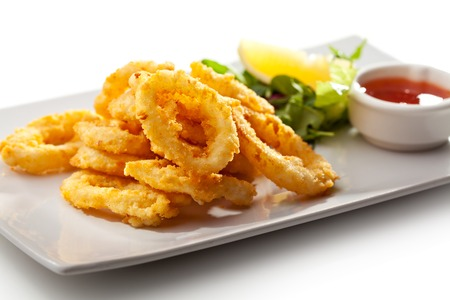 Deep Fried Calamari Rings with Lemon and Red Sauce