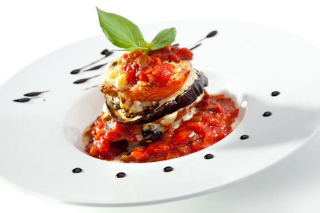 tomato slices: Baked Eggplant with Tomato under Cheese