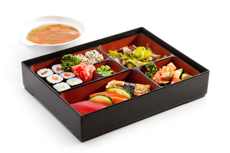 bento: Japanese Lunchbox Food with Soup Stock Photo