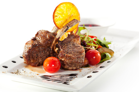 Grilled Rack of Lamb with Mushrooms Sauce and Vegetables photo