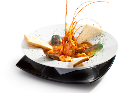 coconut crab: Seafood Soup with Shrimps, Mussels and Crayfish