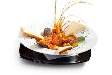 Seafood Soup with Shrimps, Mussels and Crayfish photo