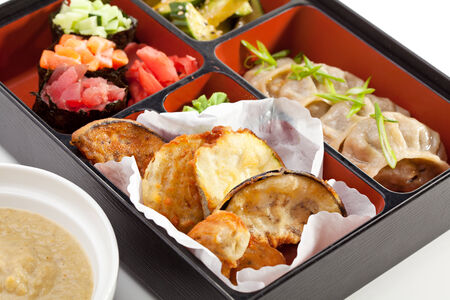 bento box: Japanese Lunchbox Food with Soup Stock Photo