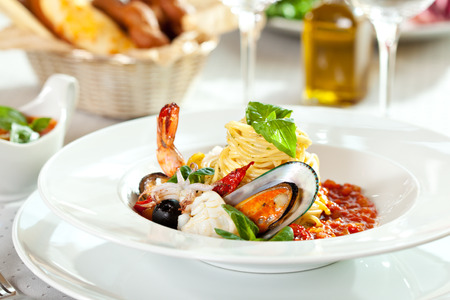 Delicious Seafood Spaghetti Selective Focus Zdjęcie Seryjne