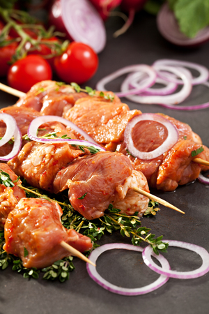 raw chicken: Marinated Meat with Onions and Thyme