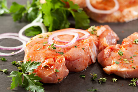 loin: Marinated Pork Loin Steak with Onions and Parsley