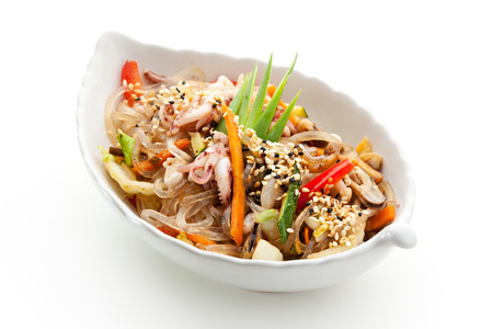 food preparation: Japanese Cuisine - Rice Noodle with Seafoods and Vegetables