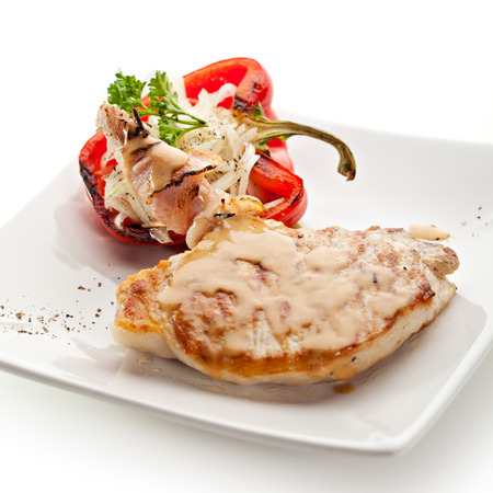 Grilled Foods - BBQ Pork with Stuffed Bell Pepper photo