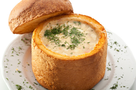 potato soup: Hot Soup in a Loaf with Dill